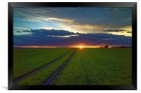 Penny Hill Farmland Sunset, Framed Print