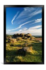 Owler Tor with Dramatic Sky                      , Framed Print