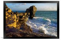 Pulpit Rock and stormy seas                       , Framed Print