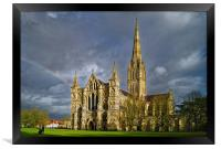 Salisbury Cathedral with Rainbow                  , Framed Print