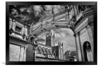 Bath Abbey and Arch in Mono                      , Framed Print