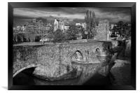 Medieval Exe Bridge in Mono                     , Framed Print