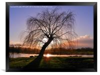 WINTER SUNSET RIVER AVON SALISBURY, Framed Print