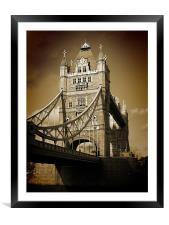 Tower Bridge Sepia (1), Framed Mounted Print