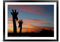 Giraffes and sunset, Framed Mounted Print