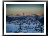Alpine sunset over Ben Lomond and surrounds, Framed Mounted Print