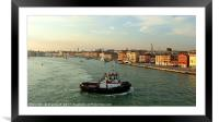 Tug into Venice, Framed Mounted Print