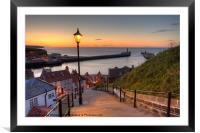 Whitby Steps - Orange Glow Landscape, Framed Mounted Print