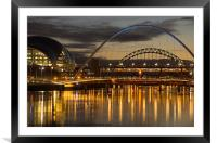 Dusk over the Tyne 2, Framed Mounted Print