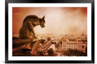 Paris Guardian - Notre Dame Gargoyle, Framed Mounted Print