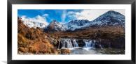 Looking over a waterfall up Coire na Creiche, Framed Mounted Print