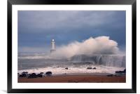White wave, Framed Mounted Print