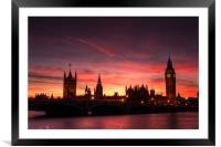 Sunset over Parliament, Framed Mounted Print