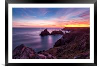 Sunset over Kynance Cove, Framed Mounted Print