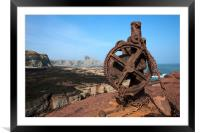 Winch at Seacliff harbour, Framed Mounted Print