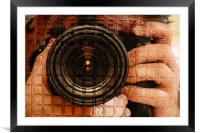 The camera in hand , Framed Mounted Print
