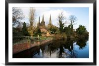 Lichfield Three Spires Cathedral  , Framed Mounted Print