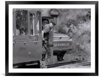 Steam engine driver, Framed Mounted Print