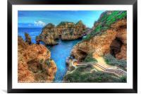 Grottos at Ponta Piedade, Framed Mounted Print