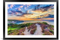 Sunset At The Needles Isle Of Wight, Framed Mounted Print