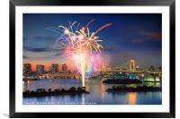 Tokyo Bay Fireworks, Framed Mounted Print