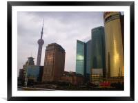 Shanghai Skyline at Sunset, Framed Mounted Print