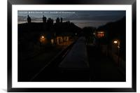 Evening time at Corfe Castle station, Framed Mounted Print
