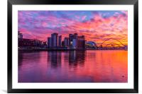Awsome fiery sunset over Necastle Upon Tyne, Framed Mounted Print