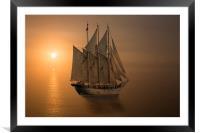 Cornish sunset, Framed Mounted Print