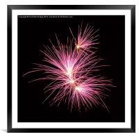 Pink Fireworks - Night time, Framed Mounted Print