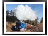 Steam train takes us back to the 1930s, Framed Mounted Print