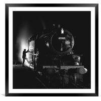 Steam loco fireman climbing aboard, Framed Mounted Print