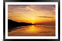 Saltburn Beach Sunset, Framed Mounted Print
