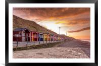 Saltburn beach huts at sunset, Framed Mounted Print
