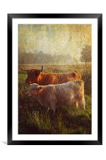 Highlanders. Scottish Countryside, Framed Mounted Print