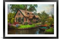 Fairytale House. Giethoorn. Venice of the North, Framed Mounted Print