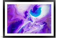 Turquoise and Purple Flow Streams. Abstract Fluid , Framed Mounted Print