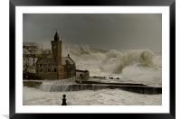 Porthleven battered by huge waves, Framed Mounted Print