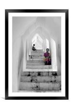 Waiting, Mandalay, Myanmar, Framed Mounted Print