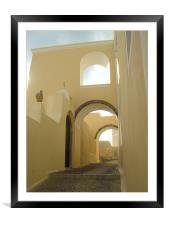 Santorini, Greece, Arches and Cobblestones, Framed Mounted Print