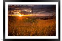 Sunset over White Horse, Framed Mounted Print