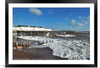 Rough seas by the pier on Teignmouth Beach , Framed Mounted Print