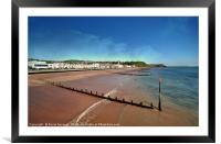 Teignmouth Beach in South Devon at low tide , Framed Mounted Print