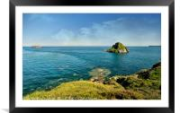 Thatcher Rock and the Orestone in Torquay, Framed Mounted Print