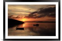 Sunset And Boats At Trondra, Framed Mounted Print