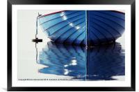 Small Blue Boat At Moorings, Framed Mounted Print