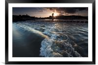 The Tawe barrage in full flow, Framed Mounted Print