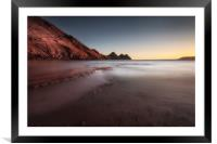 Sunset at Three Cliffs Bay, Framed Mounted Print