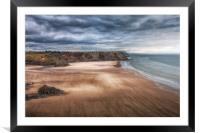 Wind swept Three Cliffs Bay, Framed Mounted Print