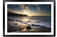 Sunset at Rhossili Bay, Framed Mounted Print